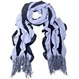 100% Acrylic Fashion Wavy Ruffle Knitted Tassel Ends Long Scarf - Various Colors Available