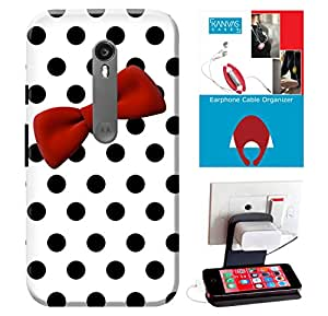Motorola Moto G3 Accessories Combo, Premium Quality Designer Printed 3D Lightweight Slim Matte Finish Hard Case Back Cover for Motorola Moto G3 + Free Earphone Cable Organizer + Mobile Charging Holder/Stand