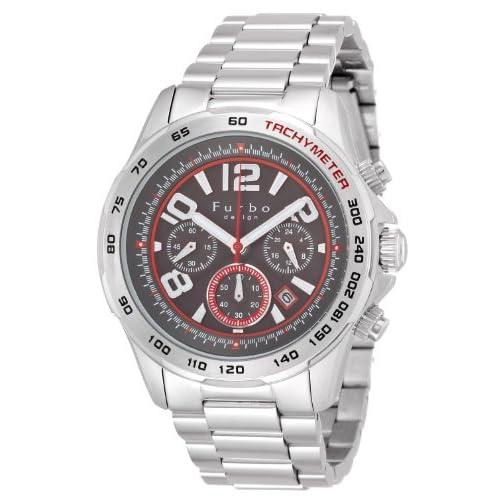 [フルボデザイン]Furbo design 腕時計 ステンレススチール 黒文字盤 ソーラークロノ メンズ FS501SBKRD メンズ