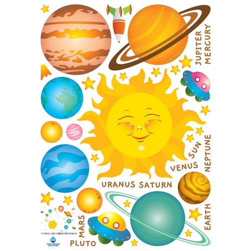 Easy Instant Home Decor Wall Sticker Decal - Labeles Solar System for Children Planets Sun