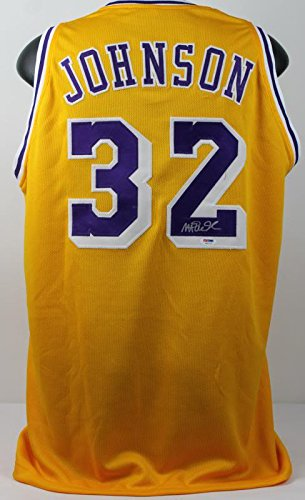 Lakers Magic Johnson Authentic Signed Yellow Jersey Autographed PSA/DNA ITP