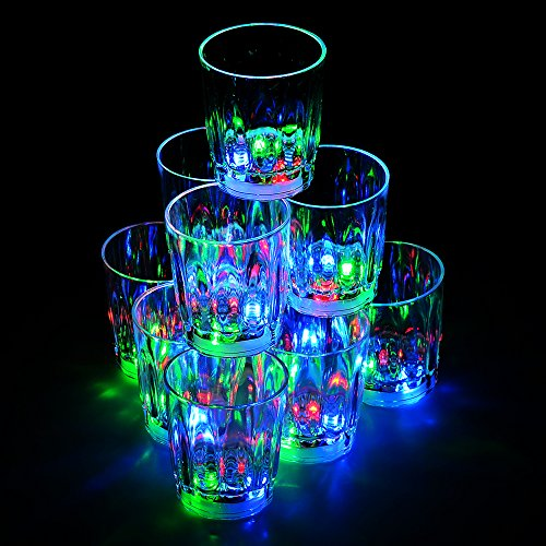 Besteker 24PCS Amazing Non-toxic Plastic Colorful Flashing LED Cups Shots Glass for Bar Party Romantic Drinking.