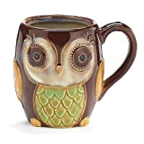 Chocolate Brown Owl Mug Porcelain 12 Ounces Coffee Tea Drink Gift
