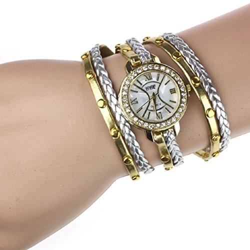 Aokdis (Tm) Unique Wrap Around Fashion Weave Leather Bracelet Lady Womans Wrist Watch (Gold)