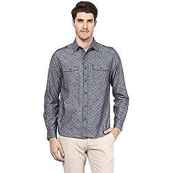 Atorse Mens White Dot Printed Grey Casual Shirt