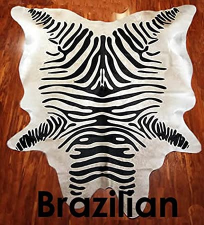 Striped Stenciled Zebra Cowhide Rug