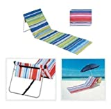 FOLDING BEACH LOUNGER MAT DECK CHAIR (STRIPE PINK BLUE)