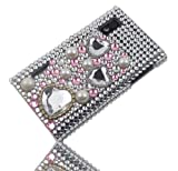 LG Optimus E610 L5 Case Cover Rhinestone Glitter Bling Pearls light pink Gold Heart