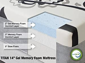 amazon com titan 14 quot gel memory foam mattress by