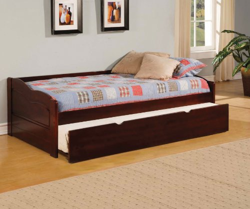 Furniture of America Modal Daybed with Trundle, Dark Cherry (Wood Trundle Bed compare prices)