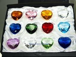 30mm Crystal Heart Diamond Paperweight Set 12