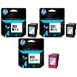2x HP 301 Original Black & 1x Colour Printer Ink Cartridges For use with HP Deskjet 2510