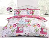 FLORAL COLLAGE PINK REVERSIBLE COTTON BLEND USA QUEEN (230CM x 220CM - UK KINGSIZE) DUVET COMFORTER COVER #KBPARCS *RAP*