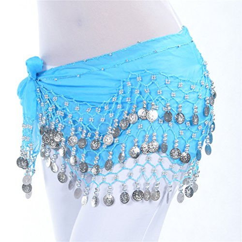Dreamspell Chiffon Dangling Coins Belly Dance Hip Scarf, Vogue Style