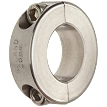 Ruland Two-Piece Clamping Shaft Collar, Stainless Steel 303, Metric