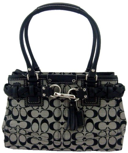 Coach Signature Hamptons Carryall Tote Handbag, Black/ White