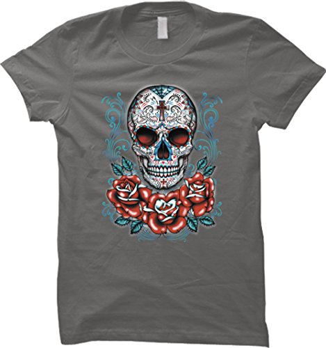 Sugar Skull With Red Roses Womens T-Shirt (Medium, Charcoal)