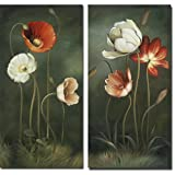 Wieco Art - Canvas Prints Giclee Artwork for Wall Decor, Stretched and Framed Art work, 2 Panels Modern Flower Oil Paintings Reproduction Canvas Wall Art for Home and office Decoration Abstract Floral Canvas Picture Print on Canvas Art P2RFL002 Size A