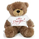 Brown 2 feet Big Teddy Bear wearing a I Love You T-shirt - B00KUDZESA