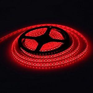 E-Goal 16.4FT 5M SMD 3528 Non Waterproof Double Density 600LEDs Red LED Flash Strip Light ,LED Flexible Ribbon Lighting Strip,12V from E-Goal