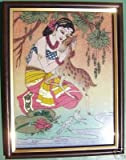 Lady & Deer At River End, Gem Art Painting, Home Décor & Gift