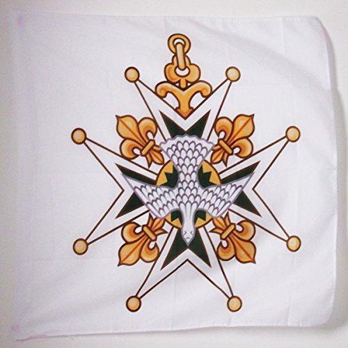BANDIERA CROIX DE L'ORDRE DU SAINT-ESPRIT 90x90cm - BANDIERA DEL ORDINE DEL SANTO SPIRITO 90 x 90 cm foro per asta - AZ FLAG