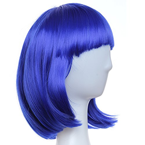 Crazy Genie Women's Sexy Short BOB Hair Wig With Straight Bangs Cosplay Dance Party Full Wigs(Jewel blue)