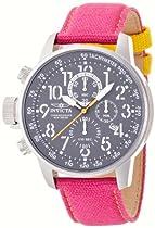 Invicta Force Lefty Crown Chronograph Grey Dial Fuschia Fabric Unisex Watch 12072