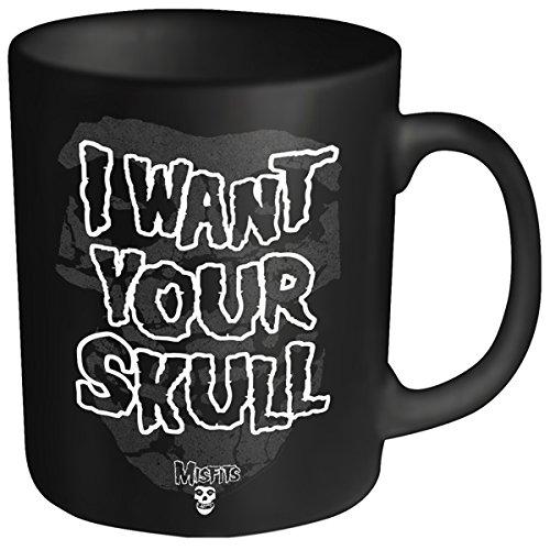 """Plastic Head - Tazza con scritta """"Misfits-I Want Your Skull"""", colore: Nero"""