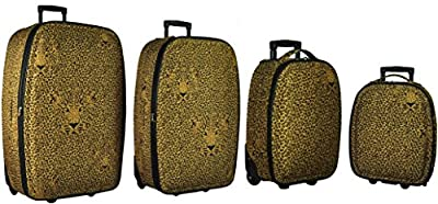 "5 Cities/Frenzy Travel Luggage Suitcase Sets, Includes Cabin Trolley Bags for Ryanair and Easyjet (Fits 50x40x20, 55x40x20cm) Medium, Large & XL Suitcases. 4-piece (18, 21, 26, 29"") & 5-piece (18, 21, 26, 29, 32"") (Set of 4 18""/21""/26""/29"", Leopard 235)"