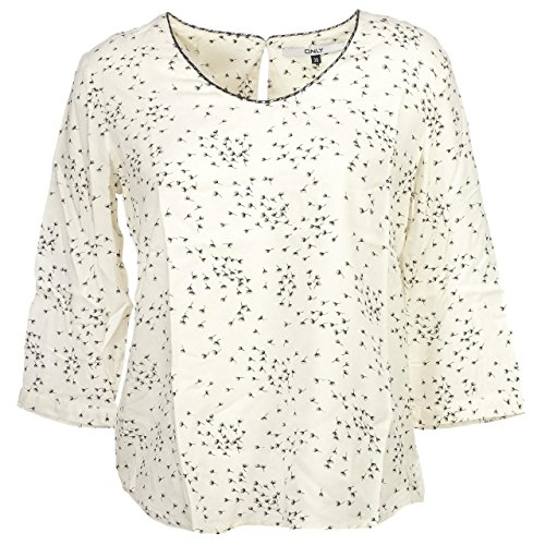 Only-Paulina Ecru ml 3/4Top L-camicia maniche lunghe bianco M