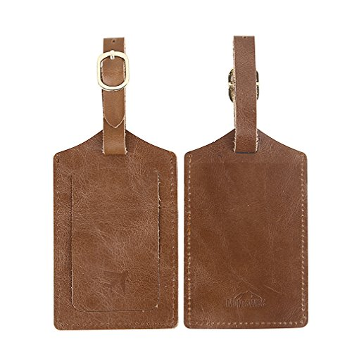 Mont Swiss Genuine Leather Luggage Bag Tags 2 Pieces Set in 2 Colors (Brown) (Luggage Tags Personalized Leather compare prices)
