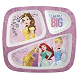Zak! Designs 3-Section Plate featuring Disney Princess Graphics, Break-resistant and BPA-free Plastic