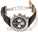 20mm Brown Crocodile Watch Strap White Stitching on deployant buckle Fits Breitling Navitimer