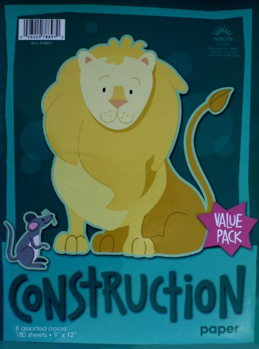 Norcom Construction Paper, 9 x 12 Inches, 8 Assorted Colors, 180 Sheets (78897-8)