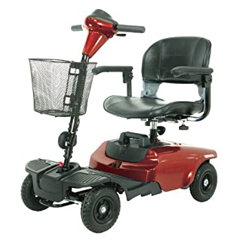 The Bobcat 4 wheel compact scooter in red by Drive Medical is ideal for indoor and outdoor use and is lightweight and easy to operate. It has a 35.4 inches turning radius, with a top speed of 4 mph, and a cruising range of 7.5 miles. It comes in a co...