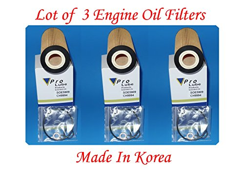 (Lot of 3)Engine Oil Filter SOE5909 /CH9994 MADE IN KOREA Fits: BMW DIESEL 335D 2009-2011 X5 2009-2013
