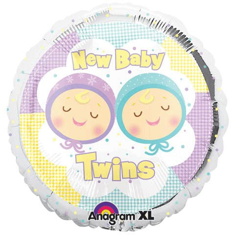 "18"" Foil New Baby Twins Balloon 1 per package"
