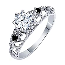 buy 1.31 Ct White Created Sapphire Black Diamond 925 Sterling Silver Ring