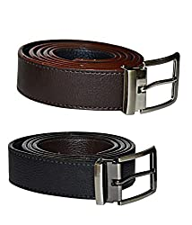 Kesari's Black & Brown Coloured Leather Combo Of 2 Belts For Men