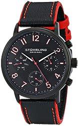 Stuhrling Original Men's 668.01 Monaco Quartz Multifunction Red Accents Leather Watch