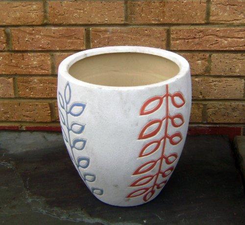 Glazed Planters - Ceramic Pot orange & blue floral design (free delivery)