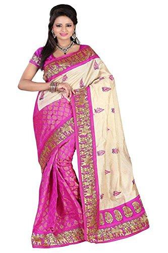 Sapna Women Wedding Bhagalpuri Art Cotton Silk Printed Saree For Ladies & Girls (Silky Touch Pink_Multi-Coloured)
