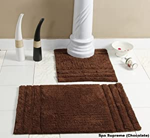Homescapes spa supreme luxury bath mat pedestal set chocolate brown very heavy 1800 gsm for Chocolate brown bathroom rugs