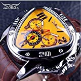 Jaragar ChicChillShop Sport Racing Design Geometric Triangle Design Genuine Leather Strap Mens Watches Top Brand Luxury Automatic Wrist Watch (Yellow) (Color: Yellow)