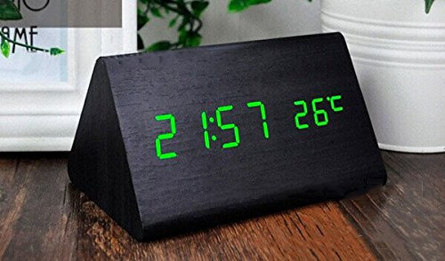 Makerfire Triangle Light Green Led Black Base Wooden Digital Alarm Clock With Temperature And Sound Control