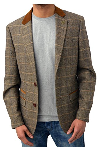 Harris Tweed Jacket collection, with a more fitted style of single breasted jacket, with a floating chest piece, 2 slanted pockets, Black Leather buttons and 2 side vents, three button cuff, elbop patchesand is fully lined in Red with three internal pockets and carries the Harris Tweed Label of Authenticity.