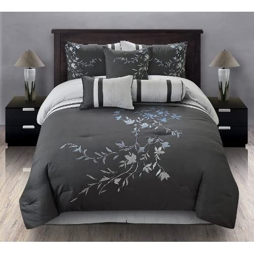 Gray Embroidered Comforter : Pcs king karissa embroidered comforter set