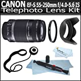 Canon EF-S 55-250mm f/4.0-5.6 IS Image Stabilizer Telephoto Zoom Lens for Canon Digital SLR Cameras + Vivitar Series 1 (Ultra Violet) Multi-Purpose Glass Filter + Lens Hood + Lens Pen Cleaning Kit + Lens Cap Keeper + ButterflyPhoto MicroFiber Cloth