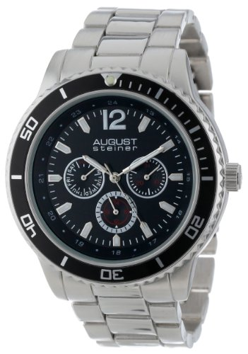 August Steiner Men's Quartz Watch with Black Dial Analogue Display and Silver Alloy Bracelet AS8059BK